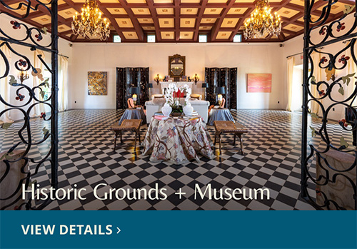 Opulent ballroom with checkered marble floors at Deering Estate. View Details