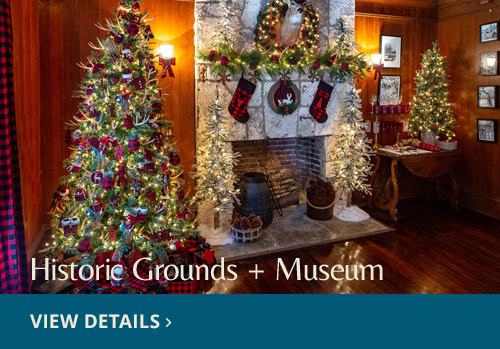 Holiday tree and decorations in the living room at Deering Estate. View Details