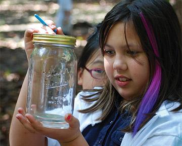 camper observing bug inside of a glass jar