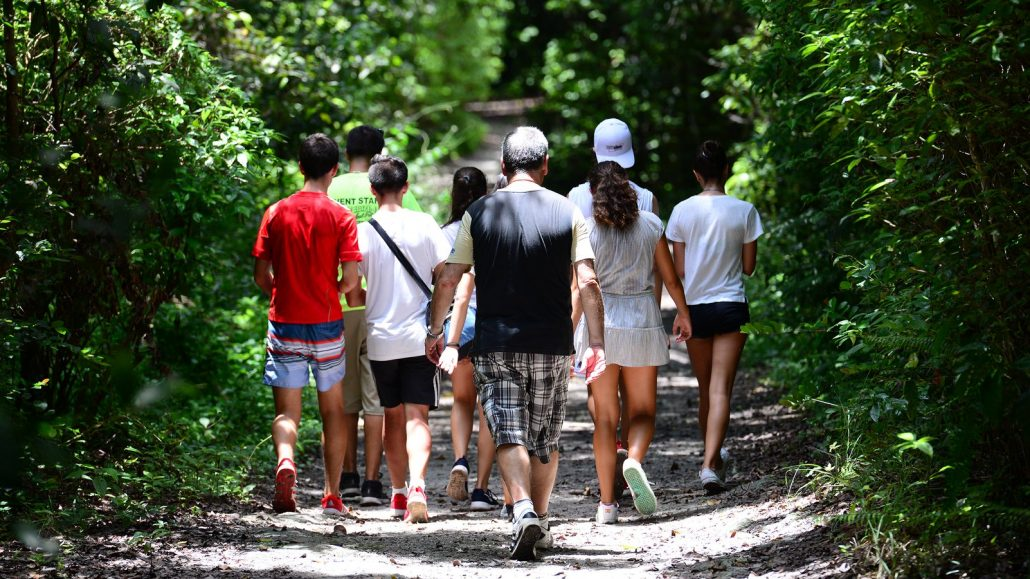 Small group walking through the nature preserve during Deering's Natural Areas tour