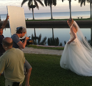 A bridal commercial video shoot