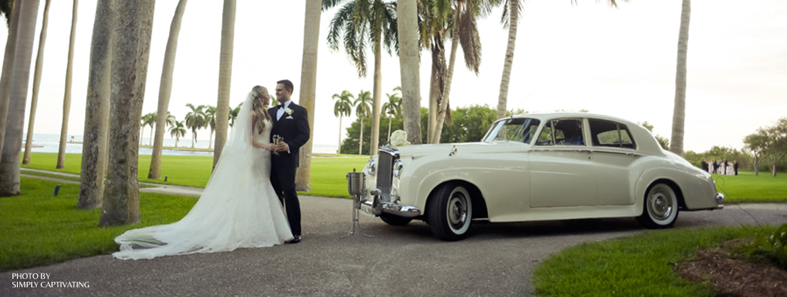 Deering Estate Wedding Bride and Groom with antique car