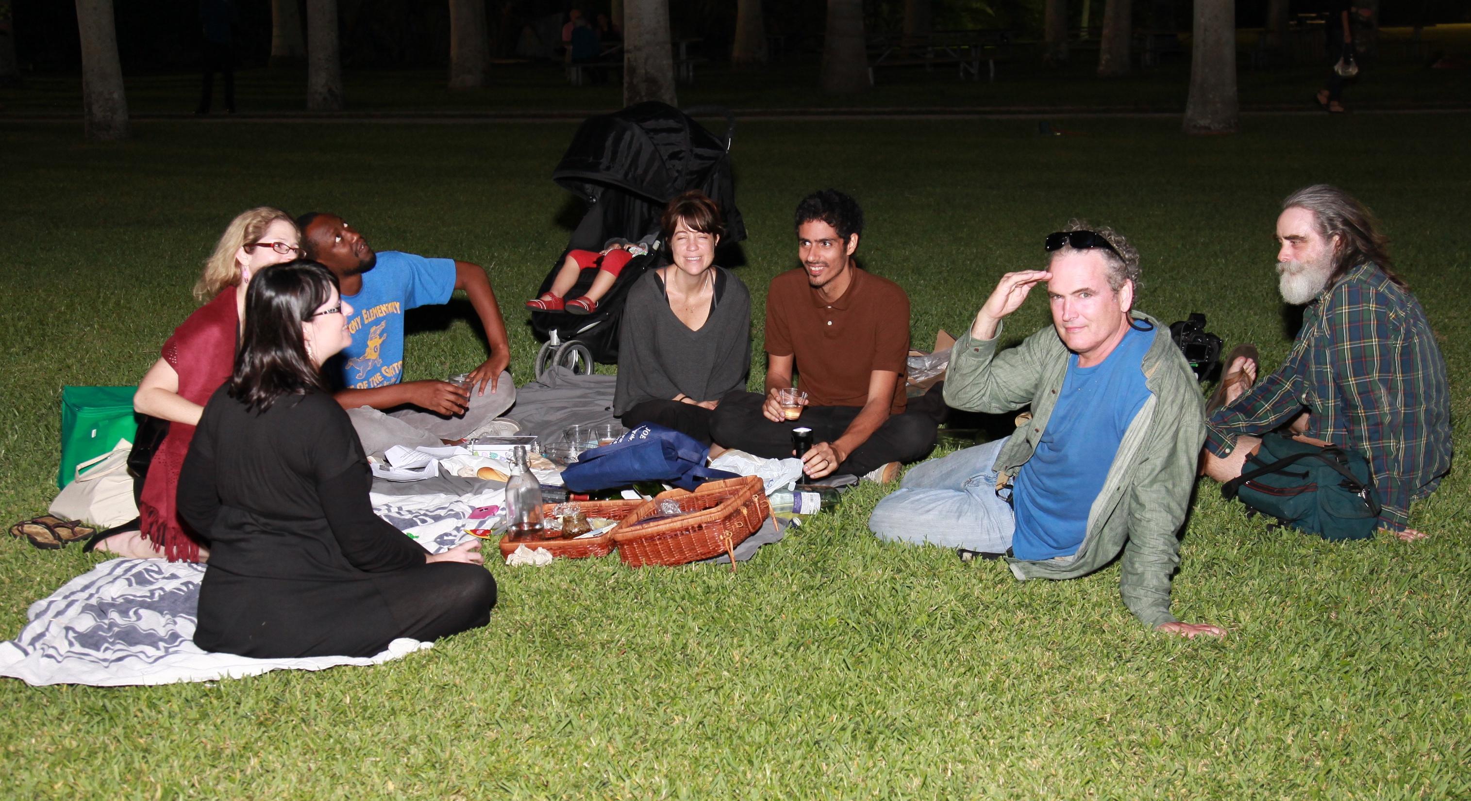 Deering Estate Artists picnic on lawn