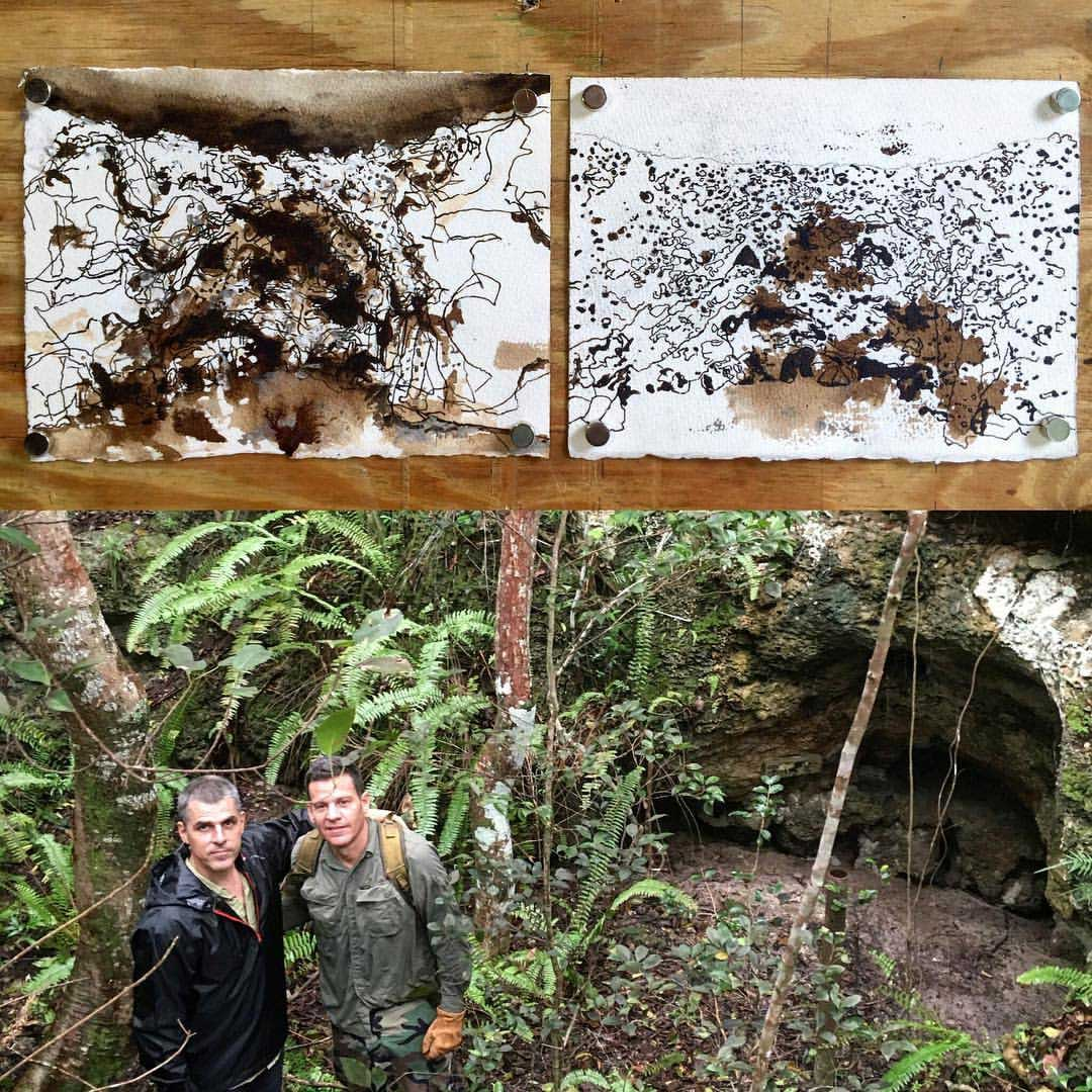 Artist in Residence John Bailly and County archaeologist Jeff Ransom visit the Cutler Fossil Site, inspiring Bailly's artistic sketches (above)