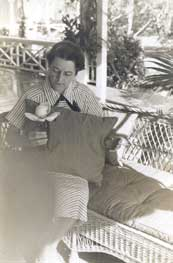 Barbara Deering Danielson, Charles' youngest daughter, resting on the front porch of the Richmond Cottage ca. 1960s