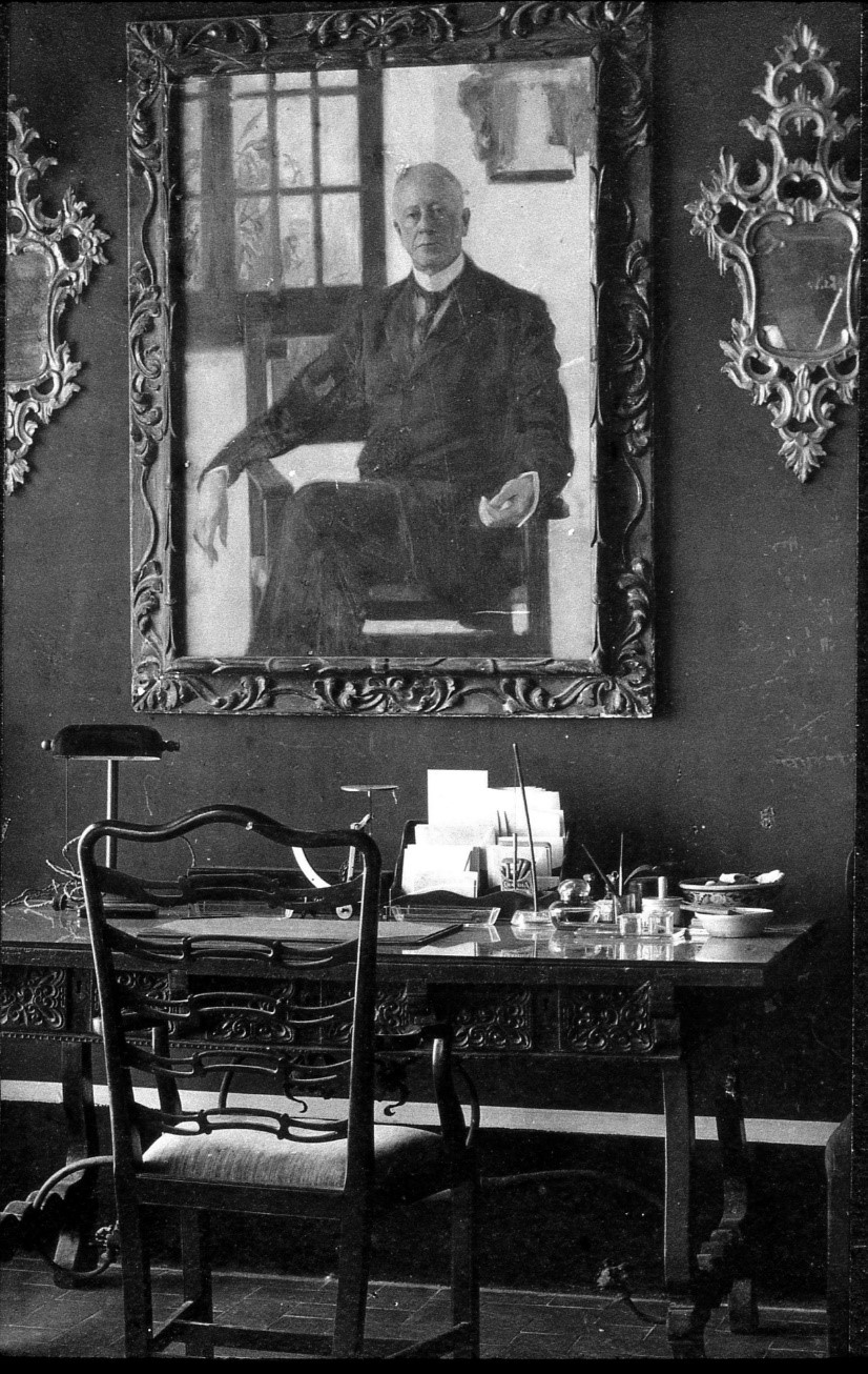 Charles Deering Portrait by Ramon Casas in the study at Maricel in 1917