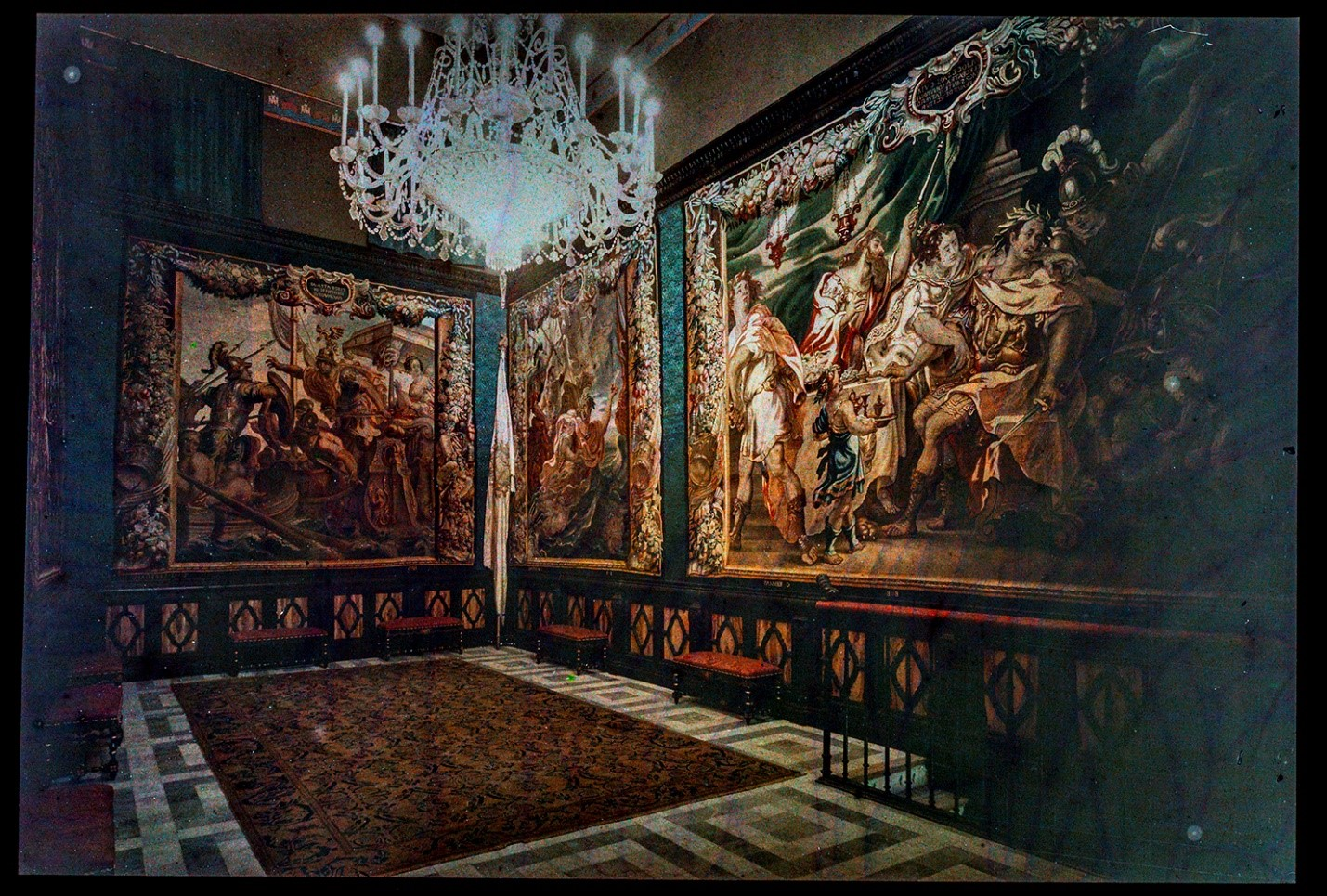 Color plate Auto-chrome slide of the interior of Maricel with Charles Deering's tapestry collection