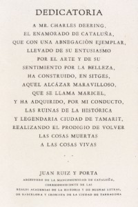 Dedication written to Charles Deering for his philanthropy in Catalonia, Spain by the archivist for the province of Catalonia ca. 1910s