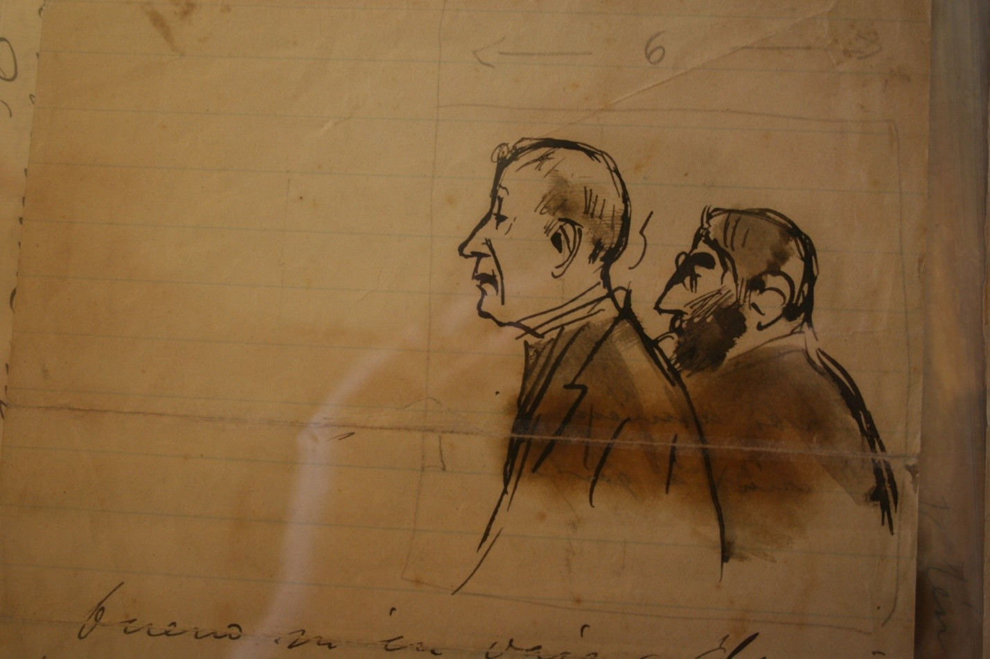 Drawing of Charles Deering and Ramon Casas by Casas in one of his letters during their art collecting travels throughout Europe ca. 1910s