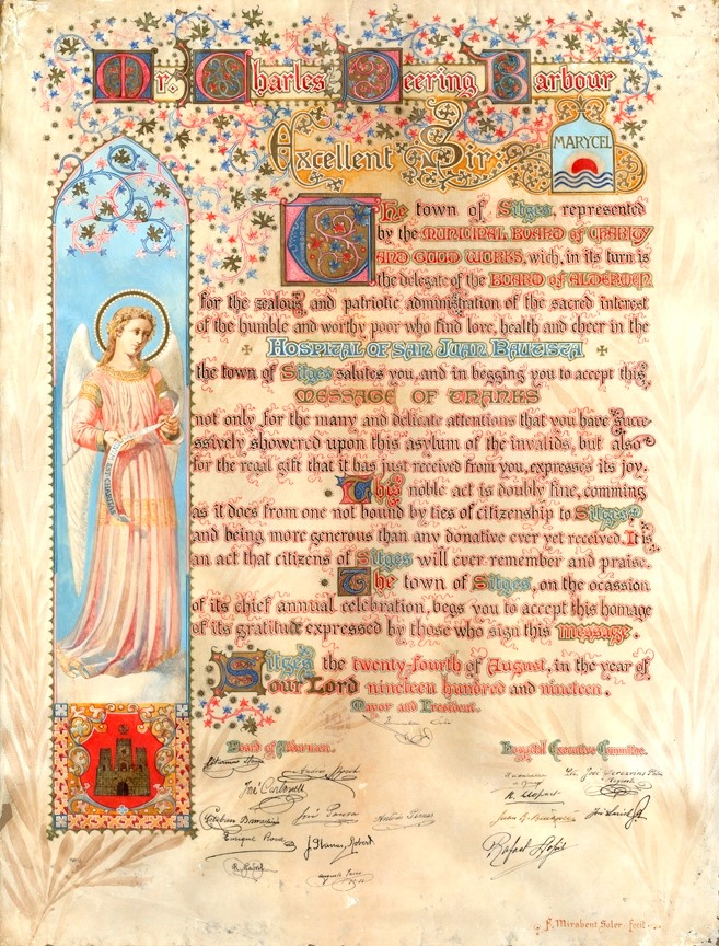 Hand-lettered proclamation thanking Charles Deering for his philanthropy to the town of Sitges in 1919