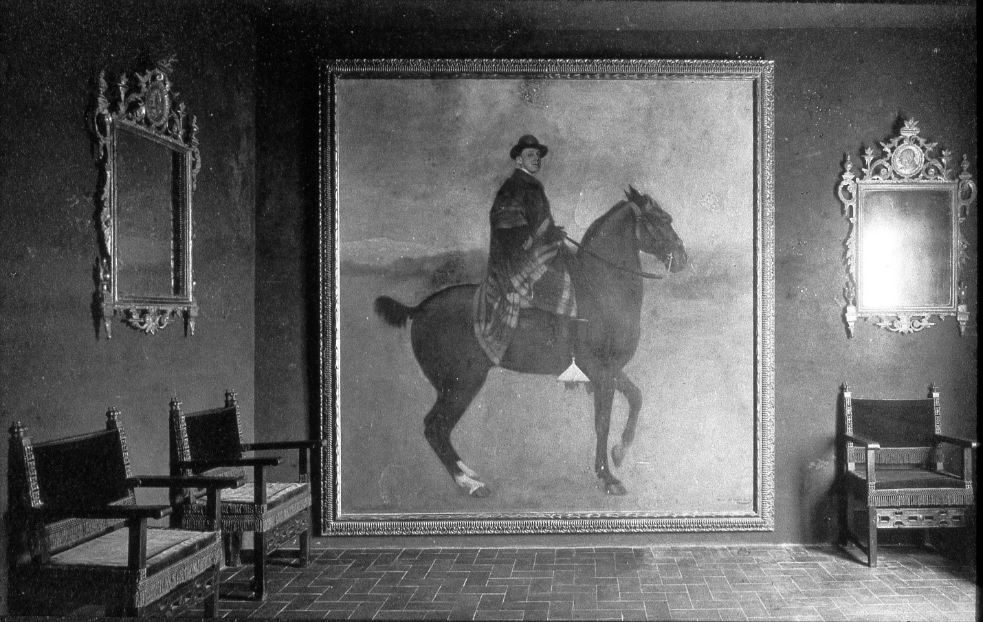 Interior of Maricel in 1917 shows Spanish decorative furnishings and master artworks that later were transferred to the Deering Estate Stone House and major museums, including this 1904 Equestrian Portrait of young King Alfonso XIII by Ramón Casas