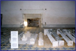 Original Stone House Columns resting in the Stone House ballroom during conservation work after Hurricane Andrew