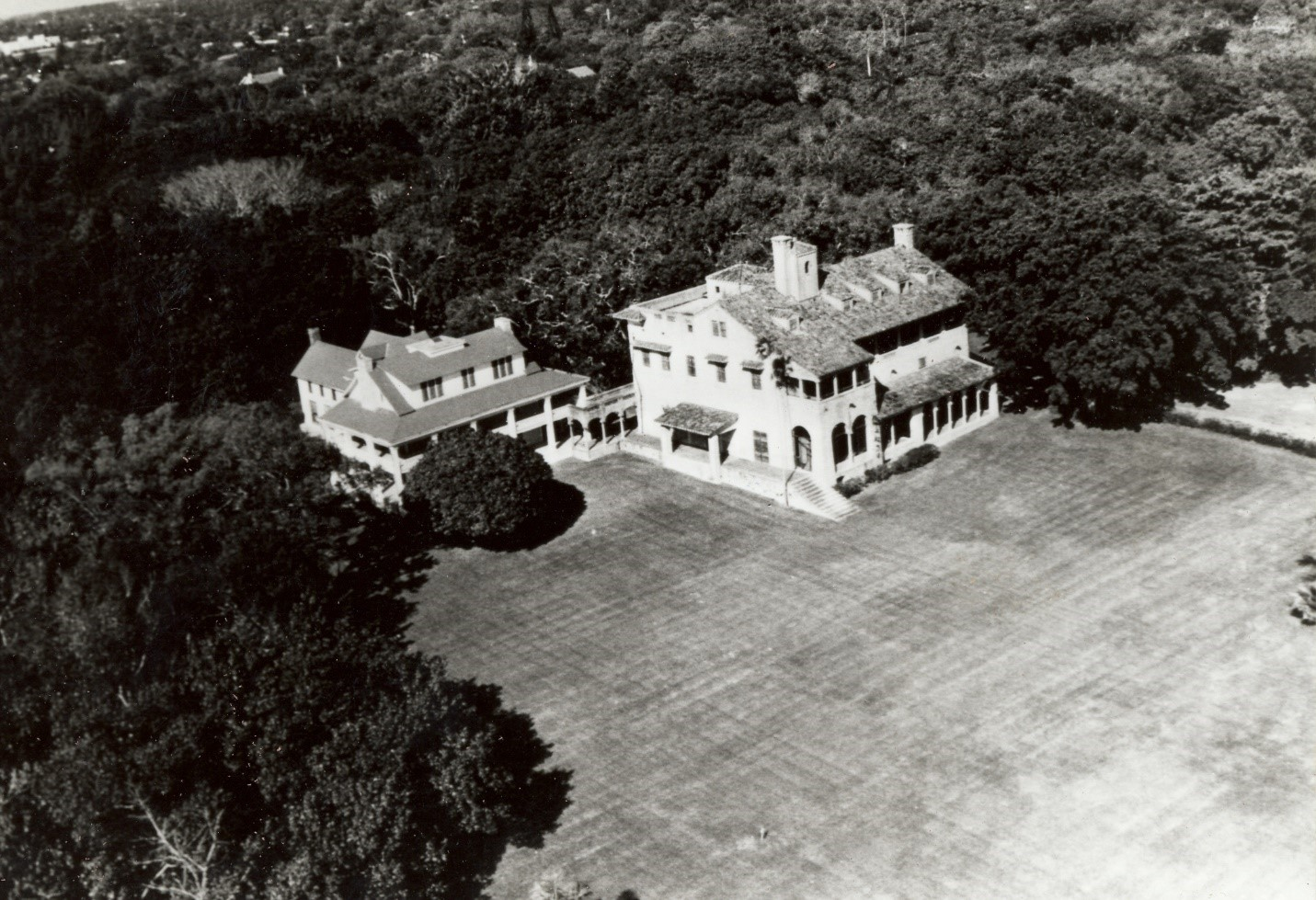 View of the Deering Estate showing the two historic homes ca. 1980s