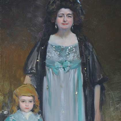 Portrait of María Tubau in the role of Pepita Tudó, oil on canvas, painted in 1901 by Artist Ramon Casas, a dear friend of Charles Deering. This painting owned by Deering was displayed for a short time at Deerings home in Sitges Spain before being moved to Deerings Florida Estate. This painting is a permanent collection on display at the Deering Estate.