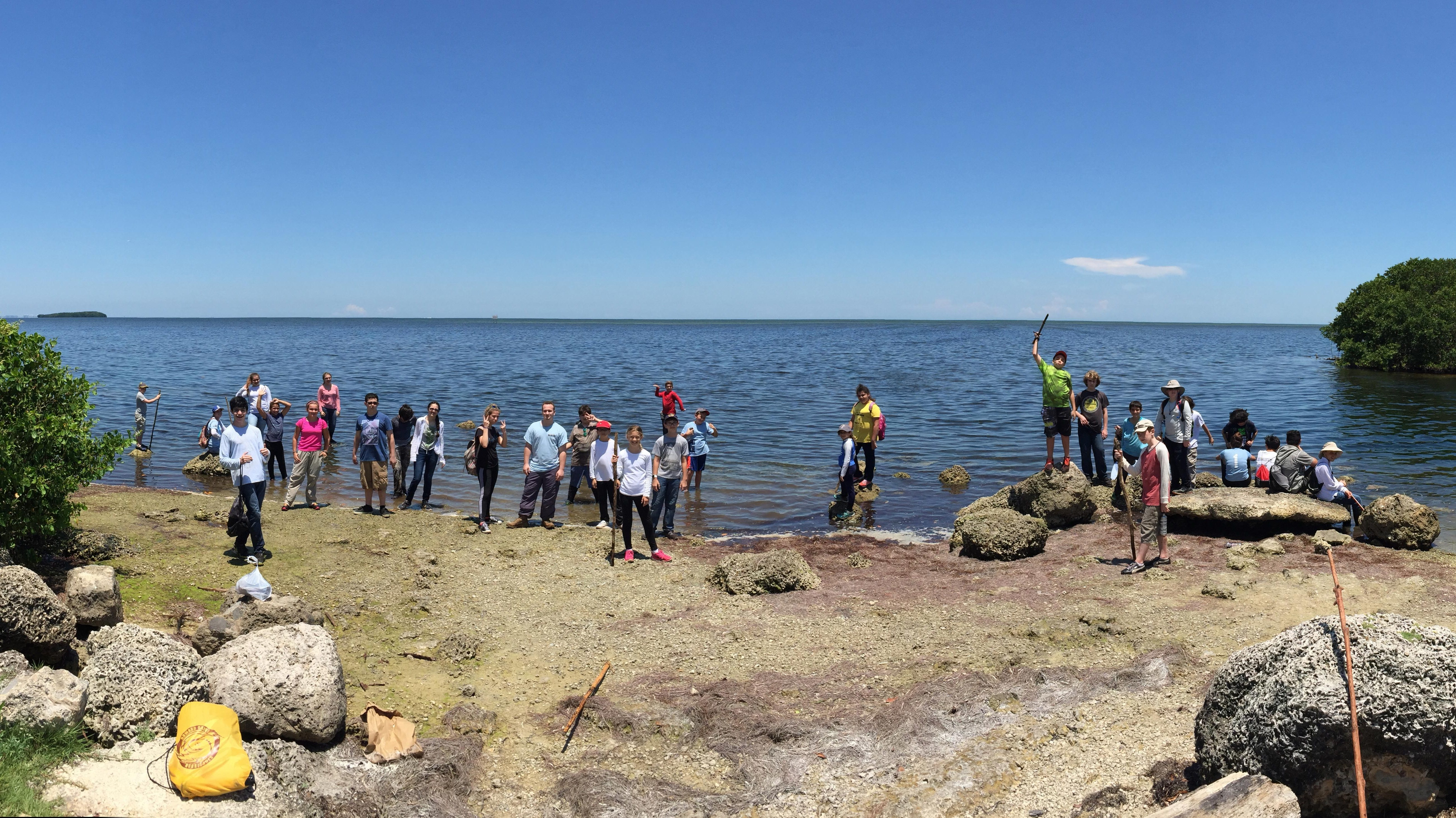 Campers gathered at Deering Point after a long hike