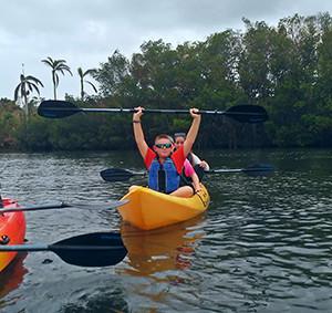 students kayaking on Biscayne bay