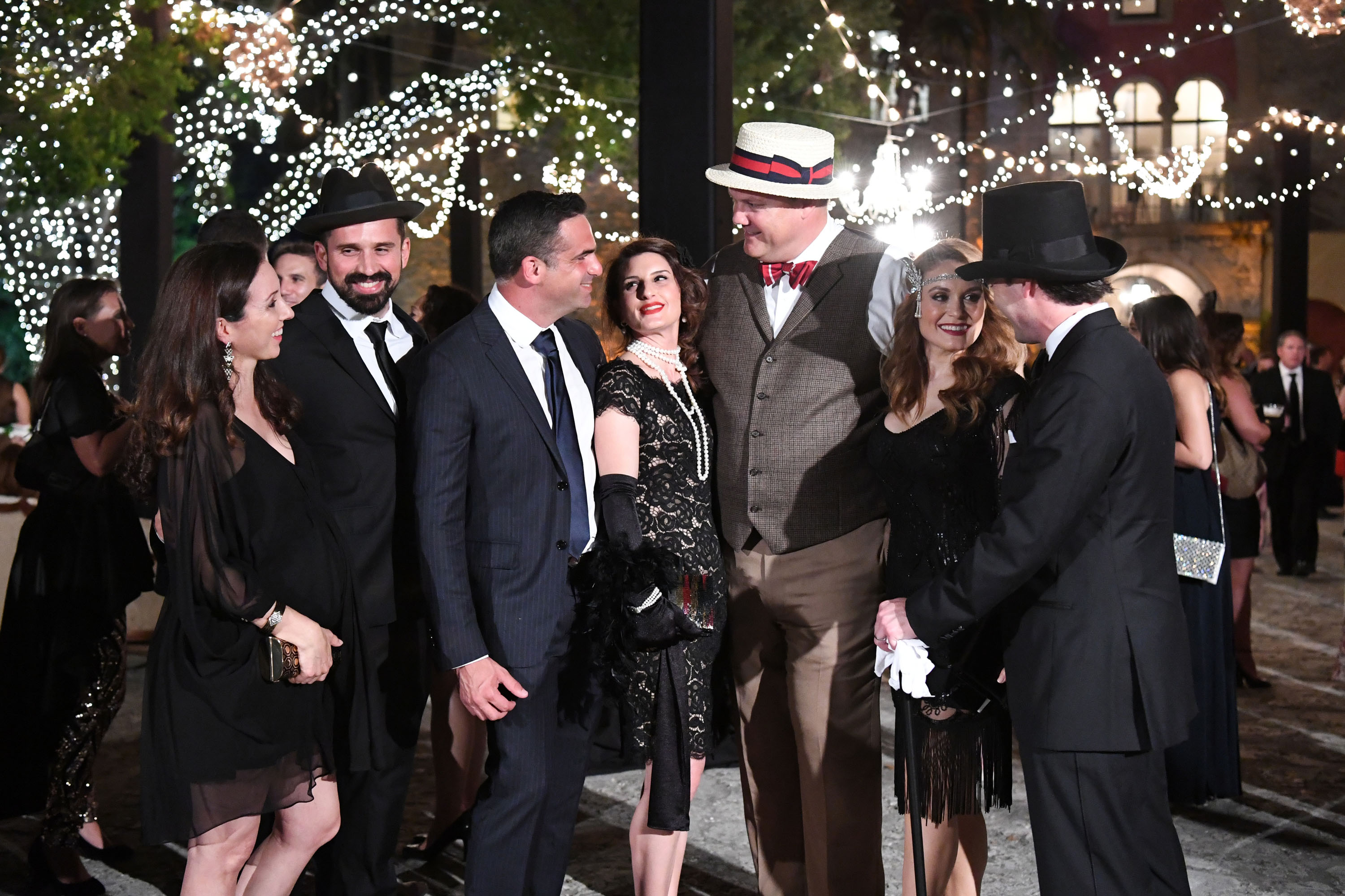 Group dressed in classic 1920's clothing for Deering Estate's Spirits' Speakeasy event