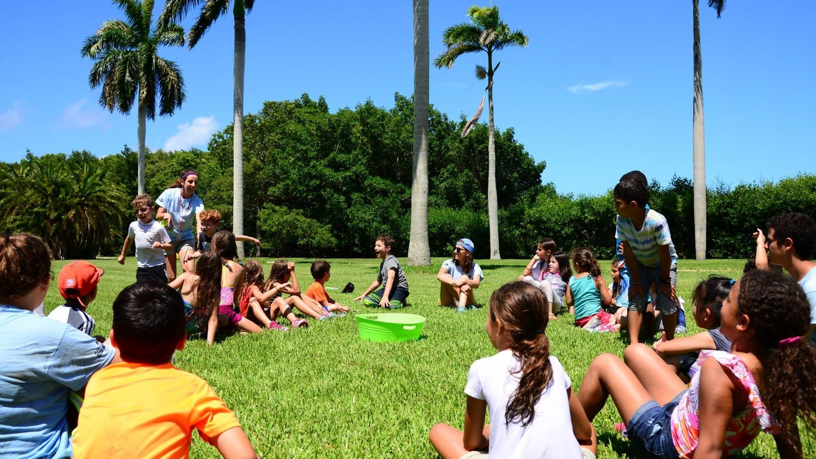 Small group of campers gathered around under the royal palms for an activity