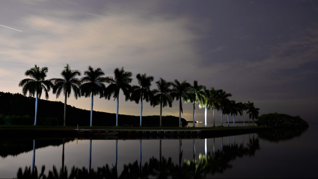 The city lights peaking over the mangroves at night on the boat basin of Deering Estate