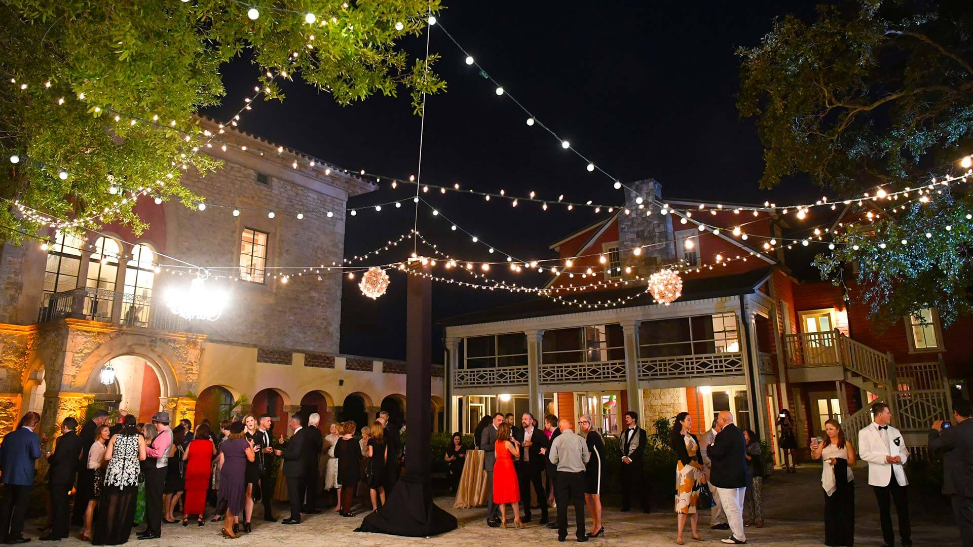 Fancy outdoor cocktail party at Deering Estate in Miami, FL