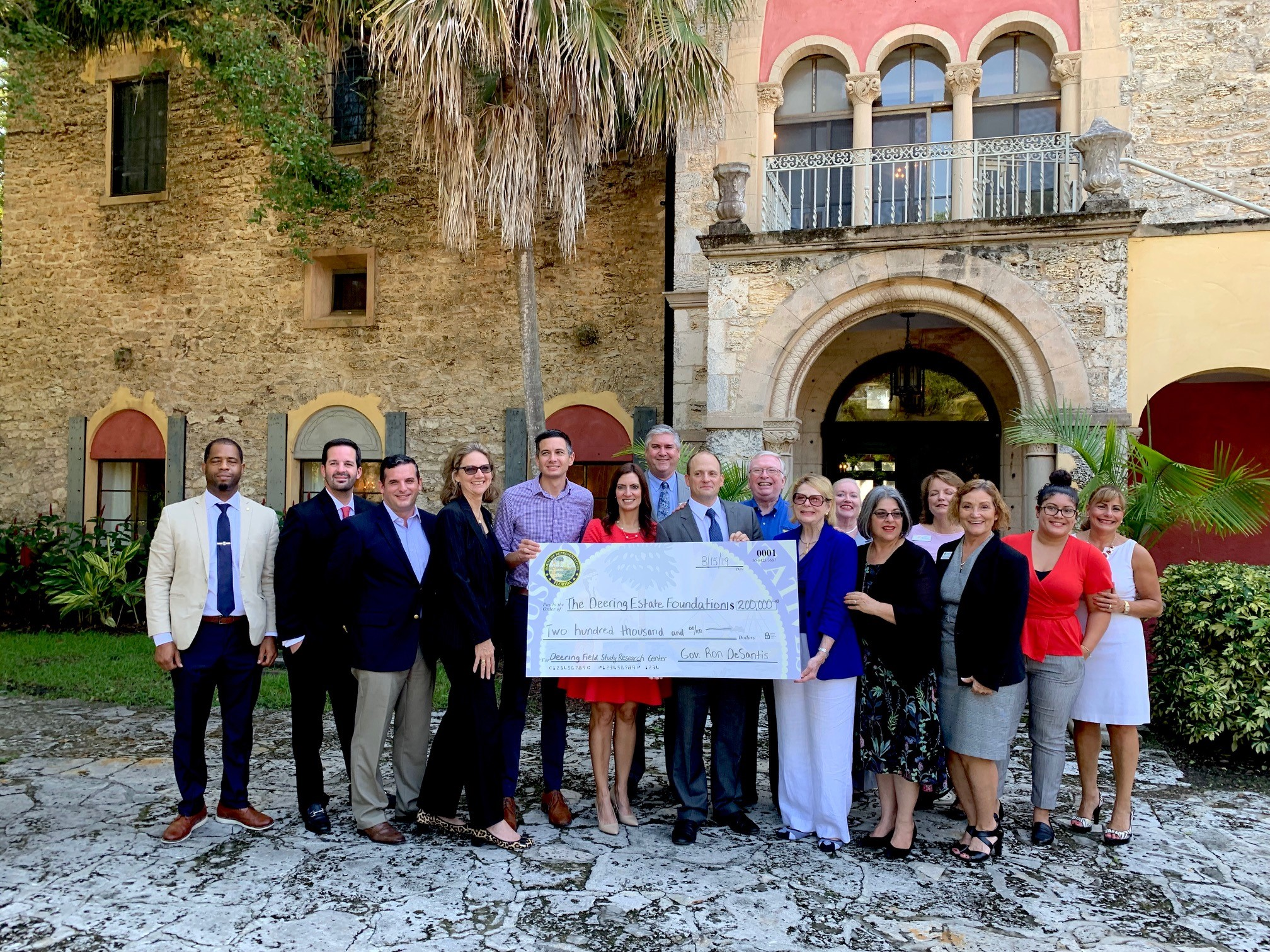 Deering Estate Foundation being presented with $200,000 for capital improvements