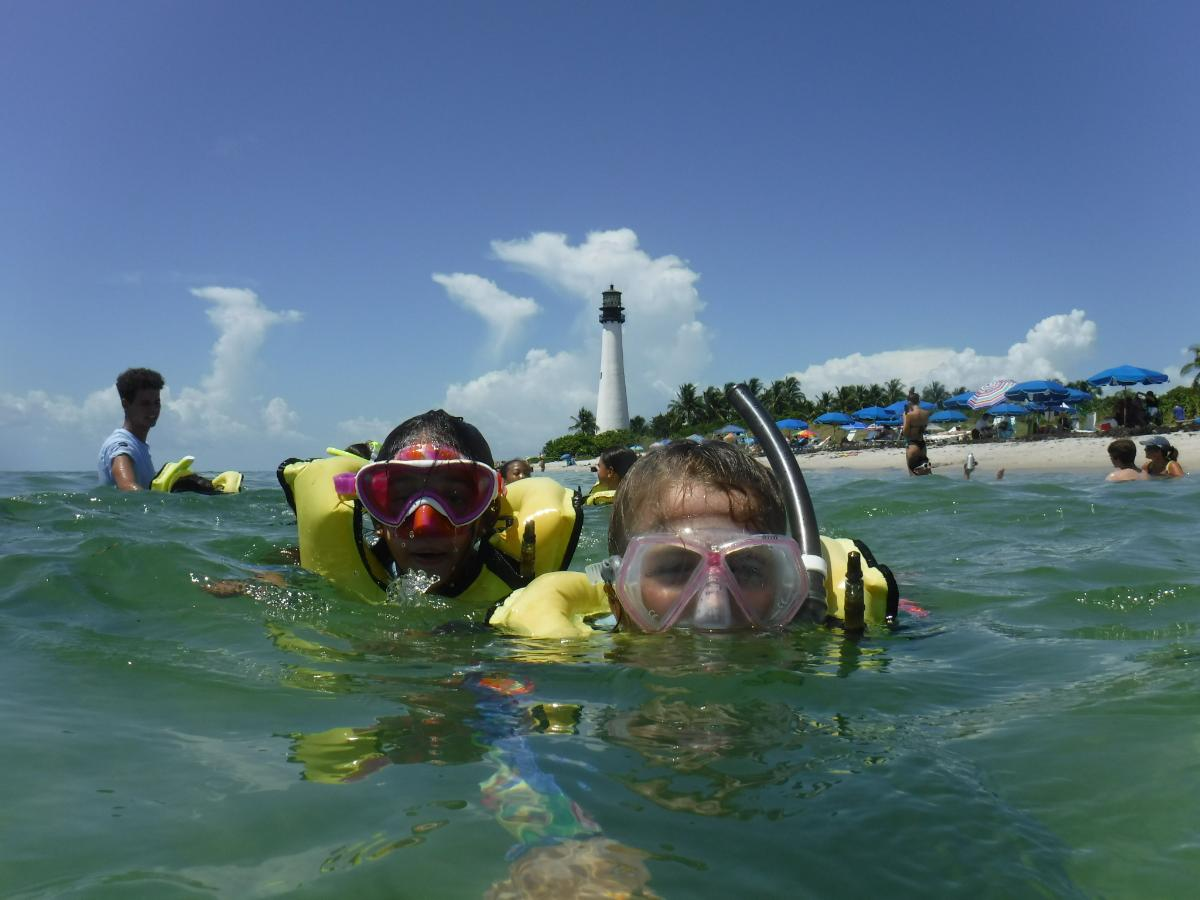 campers snorkeling on a summer field trip.