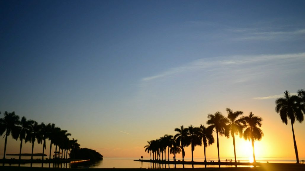 Sun shining brightly over the horizon of Deering Estate's boat basin during sunrise
