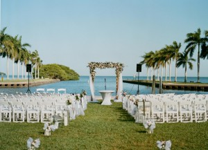 Wedding ceremony taking place on Deering Estate's main lawn