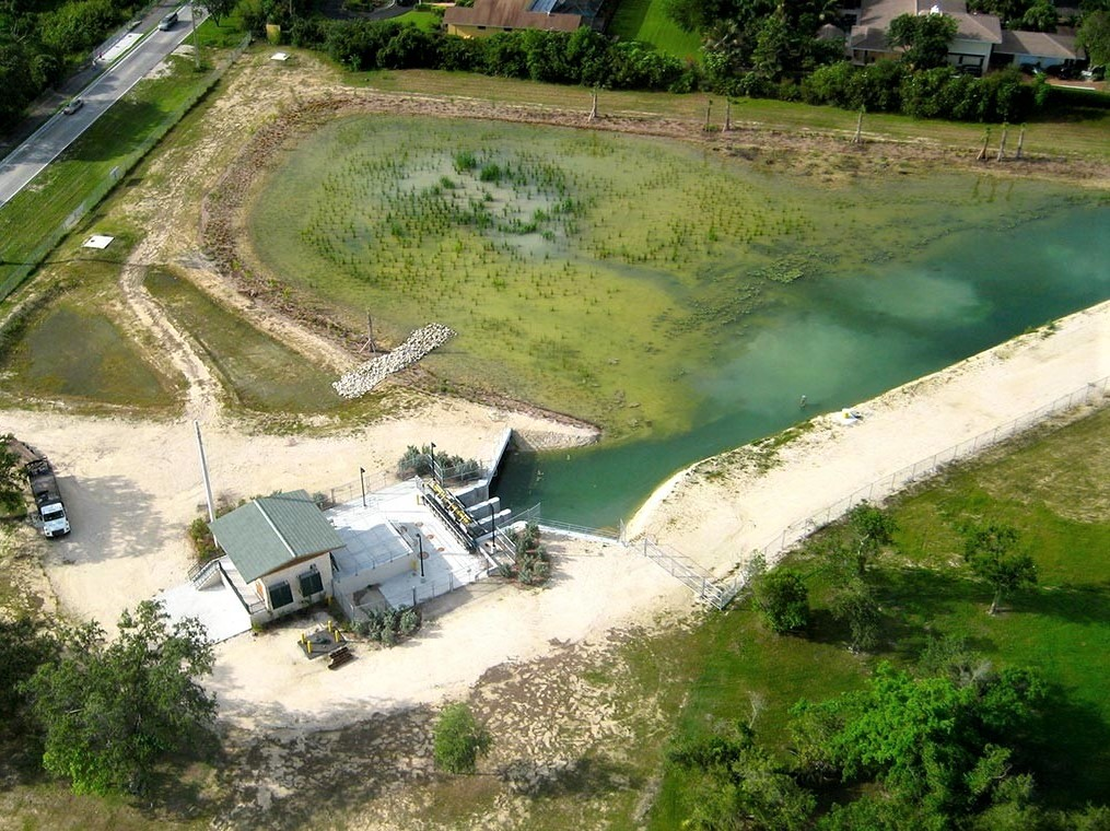 An aerial photo of the Cutler Slough Rehydration Project. The waters behind and adjacent to the Deering Estate are part of a system of 41 protected aquatic preserves around the state managed by the Florida Department of Environmental Protection's Office of Coastal and Aquatic Managed Areas. Biscayne Bay Aquatic Preserve provides habitat for a wide variety of juvenile and adult marine species including several of Florida's imperiled species, such as the west Indian manatee, the smalltooth sawfish, the American crocodile, and Johnson's seagrass. Seagrass beds, especially along the shores of the Deering Estate, are prime feeding areas for wading birds and a valuable nursery area for juvenile fish and invertebrates, including many of commercial interest.