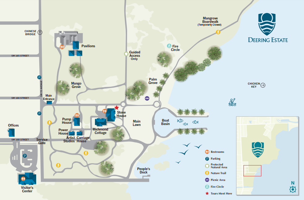 Deering Estate Directional Site Map