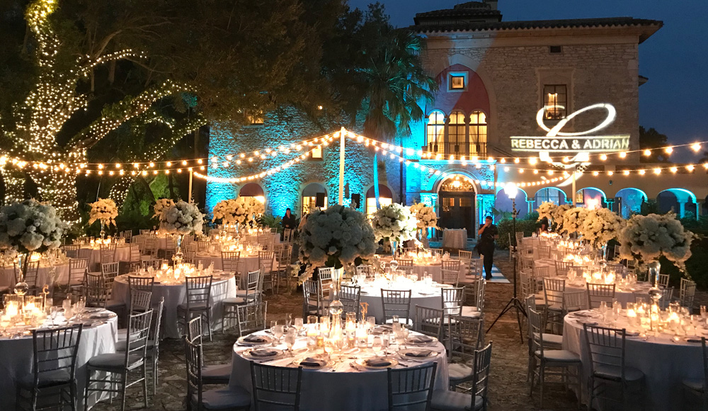 outdoor evening wedding decor at the deering estate