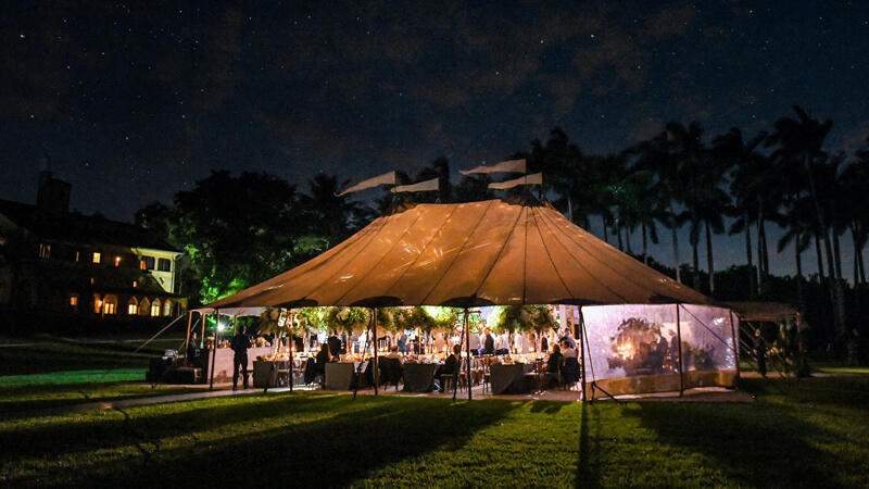 Evening Miami wedding celebration at The Deering Estate.