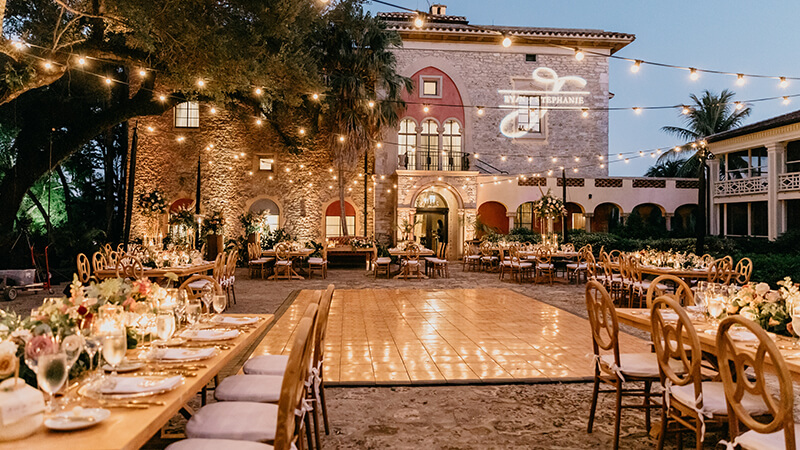 Beautiful wedding tables and decor at The Deering Estate