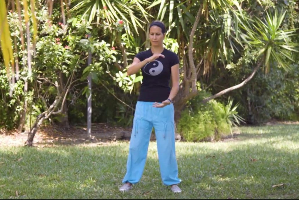Tai Chi Instructor Grisell Gonzalez practicing Tai Chi with her class