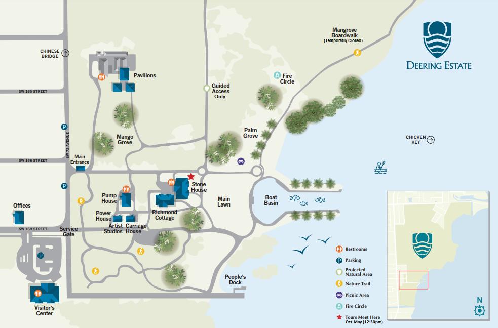 Deering Estate Directional Site Map