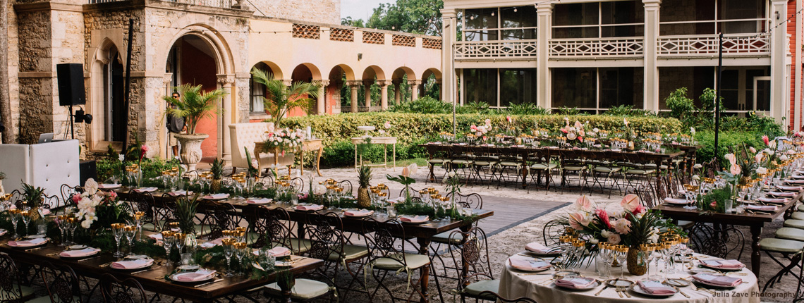 photo of a wedding reception at Deering Estate's historic Courtyard.