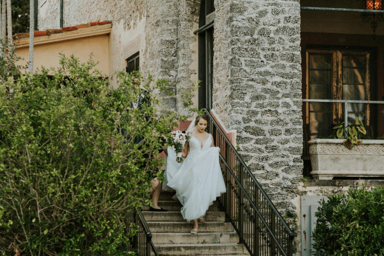 bride at the historic deering estate outdoor wedding venue