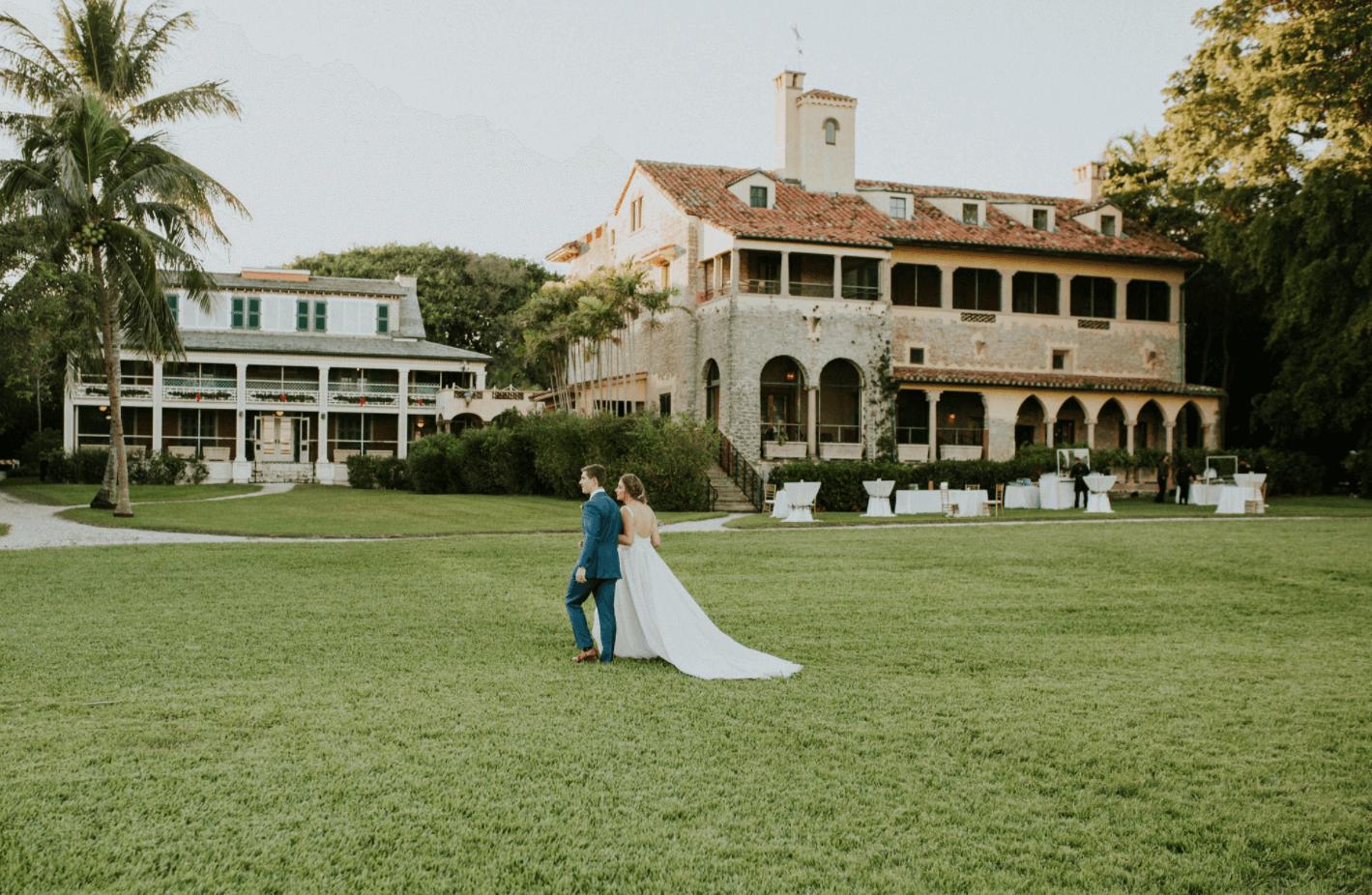 bride and groom outdoor wedding miami fl