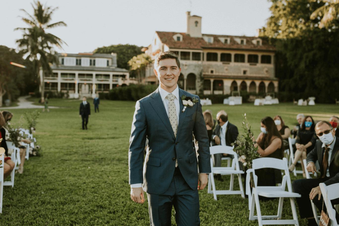 groom at historic deering estate wedding venue in miami, fl