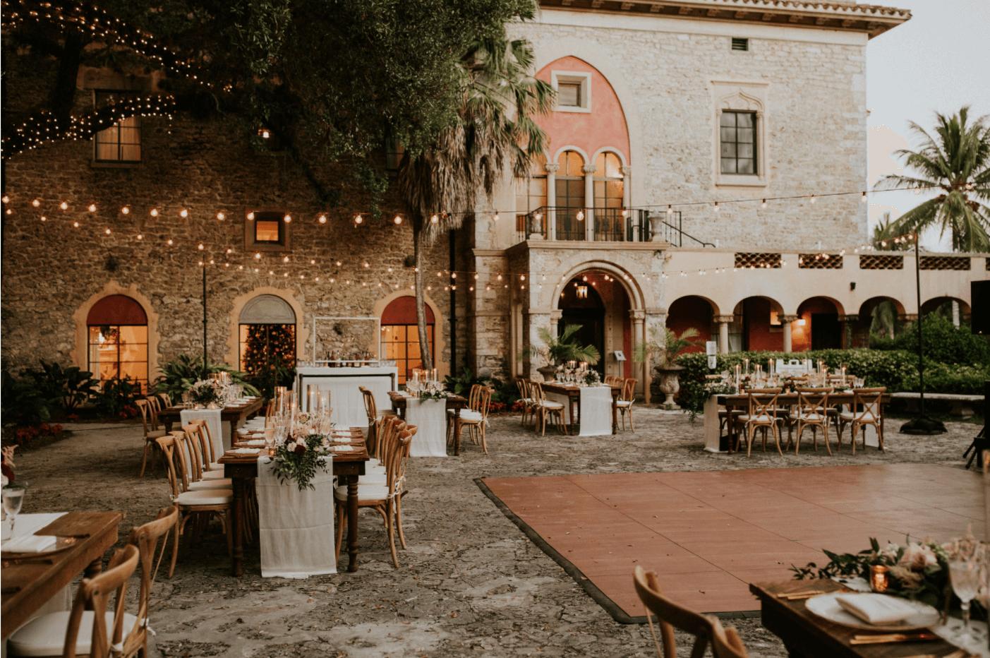 miami waterfront outdoor wedding reception
