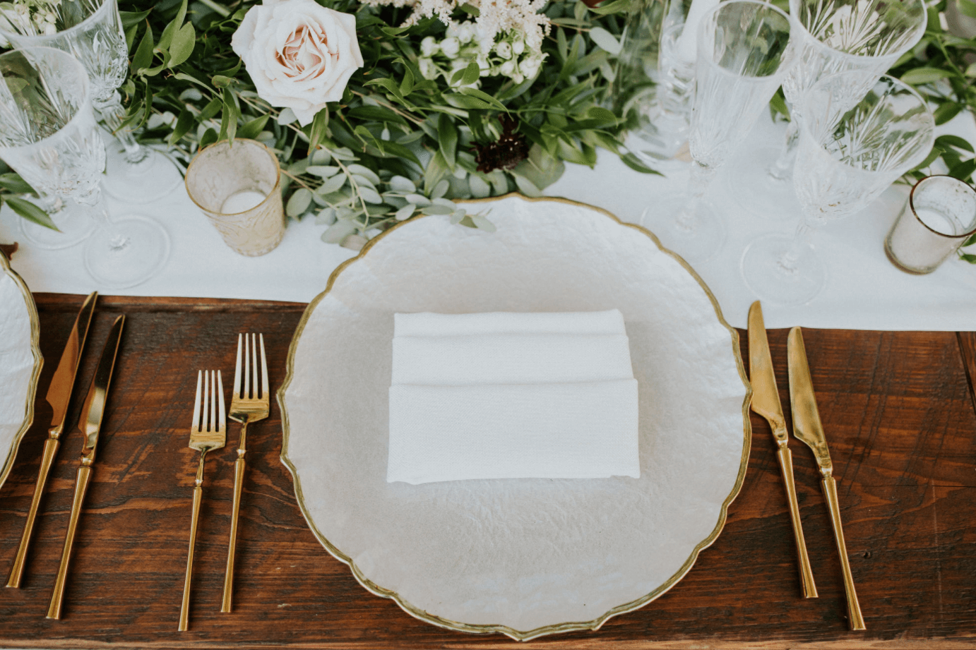 vintage place setting at miami waterfront mansion