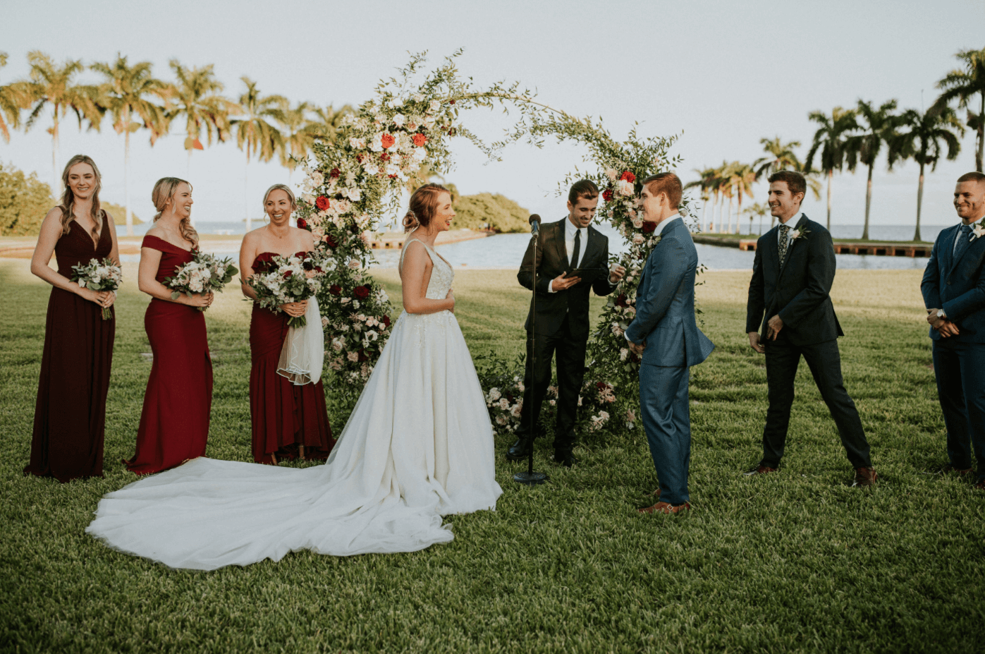 wedding party at the oceanfront miami outdoor wedding at deering estate